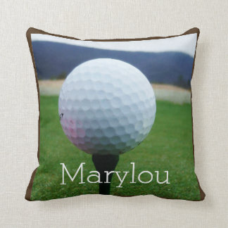 Personalized with Name white golf ball Cushion