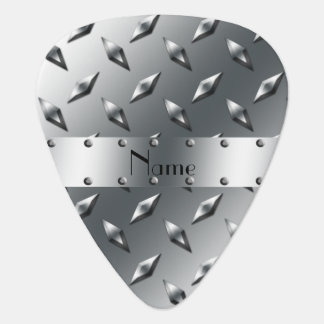Personalized with your name diamond plate steel pick