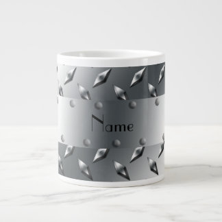 Personalized with your name diamond plate steel jumbo mug