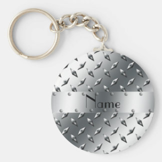Personalized with your name diamond plate steel basic round button key ring