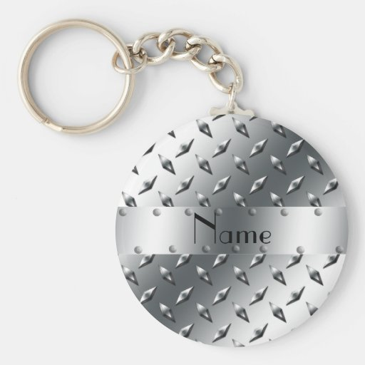 Personalized with your name diamond plate steel keychains