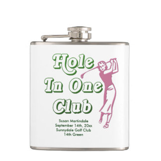 Personalized Womens Golf Hole in One Memento Hip Flask