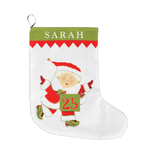 personalized women's running large christmas stocking