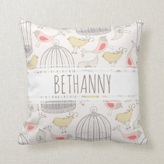 Personalized Wonderland Birds and Cages Pillow