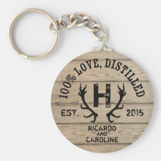 Personalized Wood Bourbon Barrel Wedding Monogram Key Ring