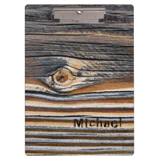 Personalized Wood Grain Pattern Clipboard