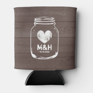 Personalized wood mason jar wedding can coolers