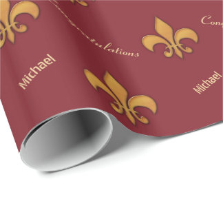 Personalized Wood Style Fleur de Lis Wrapping Paper