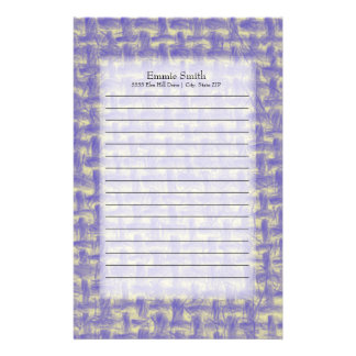 Personalized Woven Light Purple and White Stationery