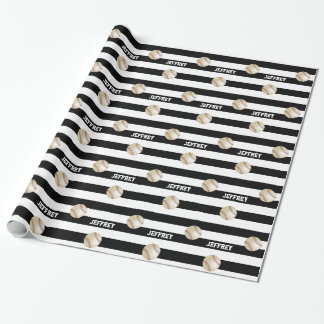 Personalized Wrapping Paper Baseball Black/White