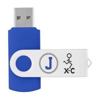 Personalized XC Cross Country Runner Monogram J Swivel USB 2.0 Flash Drive