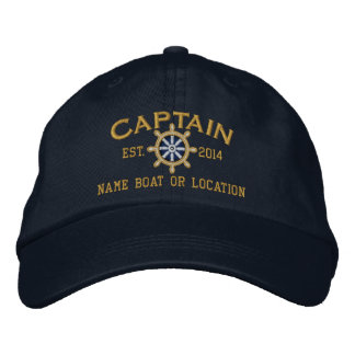 Personalized YEAR and Names Captain Wheel Embroidered Hat