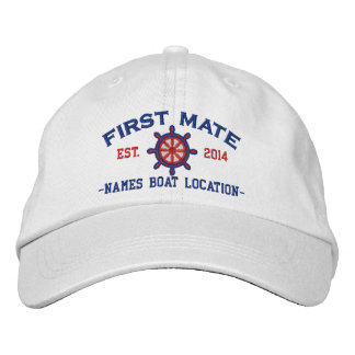 Personalized YEAR and Names First Mate Wheel Embroidered Hats