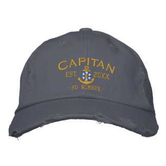 Personalized YEAR Name Spanish Captain Lifesaver Embroidered Hat