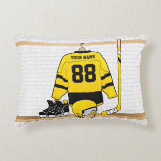 Personalized Yellow and Black Ice Hockey Jersey Accent Cushion