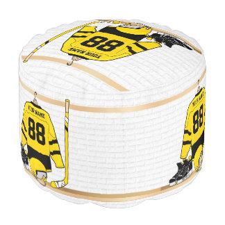 Personalized Yellow and Black Ice Hockey Jersey Round Pouffe
