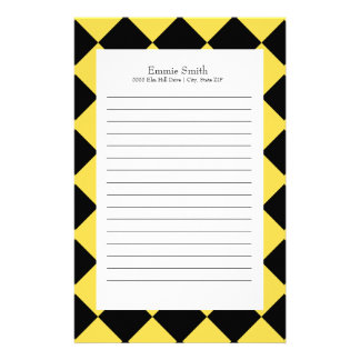 Personalized Yellow and Black with White Checkered Stationery