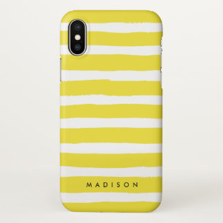 Personalized Yellow and White Brushed Stripe iPhone X Case