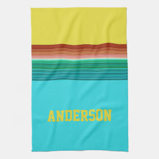 Personalized Yellow Blue Multicolor Stripe Pattern Tea Towel