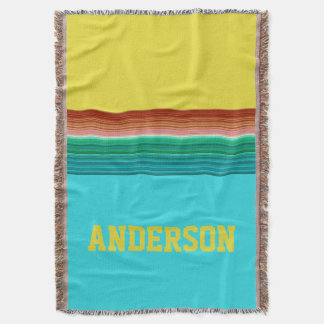Personalized Yellow Blue Multicolor Stripe Pattern Throw Blanket