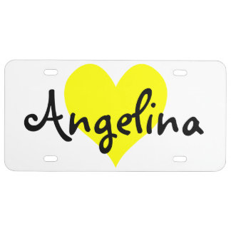 Personalized Yellow Cute Heart Shape License Plate