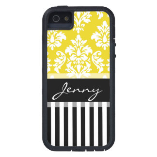 Personalized Yellow Damask Black Stripes Cover For iPhone 5