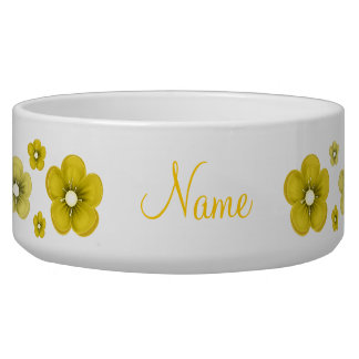 personalized Yellow Flower Dog Bowl
