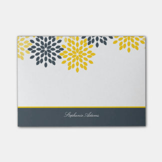 Personalized Yellow, Gray Charcoal Modern Floral Post-it® Notes