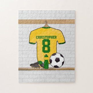 Personalized Yellow Green Football Soccer Jersey Jigsaw Puzzles