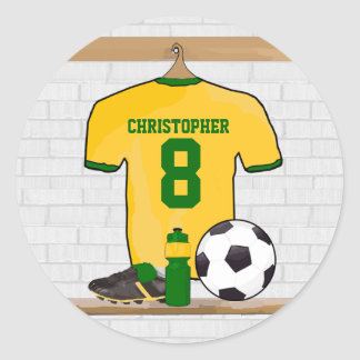 Personalized Yellow Green Football Soccer Jersey Round Stickers