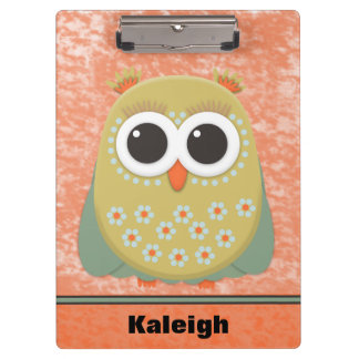 Personalized Yellow Green Owl on Orange Grunge Clipboards