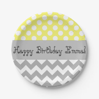 Personalized Yellow Kids Party Plates