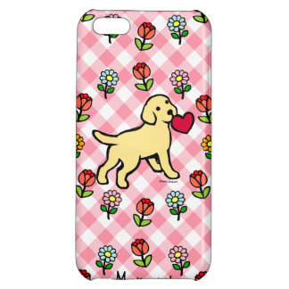 Personalized Yellow Lab Puppy Heart Cartoon Cover For iPhone 5C