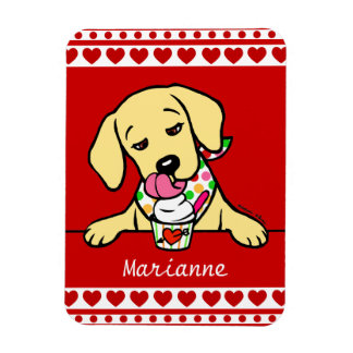 Personalized Yellow Lab Puppy Ice Cream Magnets