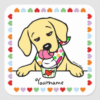 Personalized Yellow Lab Puppy Ice Cream Square Sticker