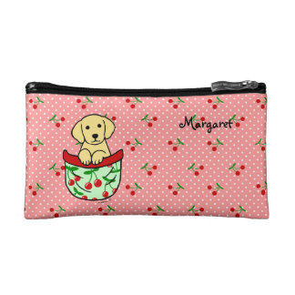 Personalized Yellow Lab Puppy in the Pocket Makeup Bags