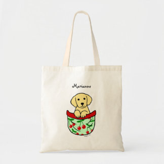 Personalized Yellow Lab Puppy in the Pocket Budget Tote Bag