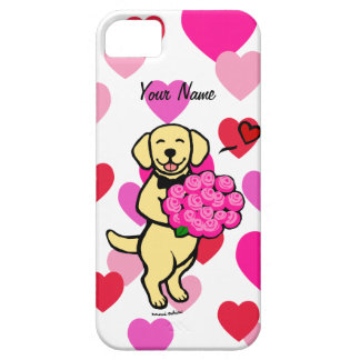 Personalized Yellow Labrador Cartoon Roses iPhone 5 Case