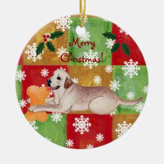 Personalized Yellow Labrador Christmas Mosaic Ceramic Ornament