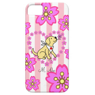 Personalized Yellow Labrador Sakura Heart Barely There iPhone 5 Case