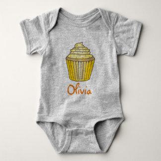 Personalized Yellow Lemon Cupcake Sprinkles Cake Baby Bodysuit