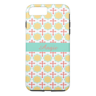 Personalized Yellow Octagons Coral Crosses Pattern iPhone 7 Plus Case