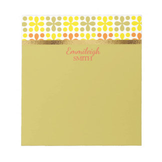 Personalized Yellow Orange Green White Gold Retro Notepad