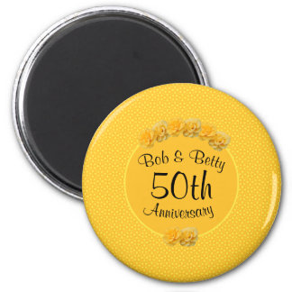 Personalized Yellow Rose 50th Anniversary Magnet