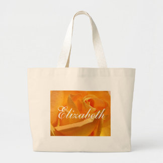 Personalized Yellow Rose Large Tote Bag