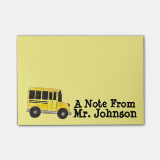 Personalized Yellow School Bus Driver Gift Post It Post-it® Notes