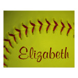 Personalized Yellow Softball Posters