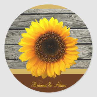 Personalized Yellow Sunflower Fall Wedding Initial Round Stickers