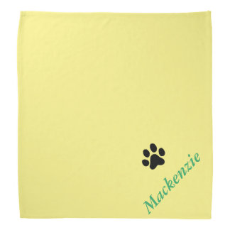 Personalized Yelping For Yellow Black Paw Print Bandana