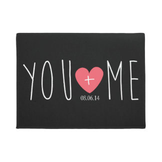 Personalized You and Me Heart with Wedding Date Doormat